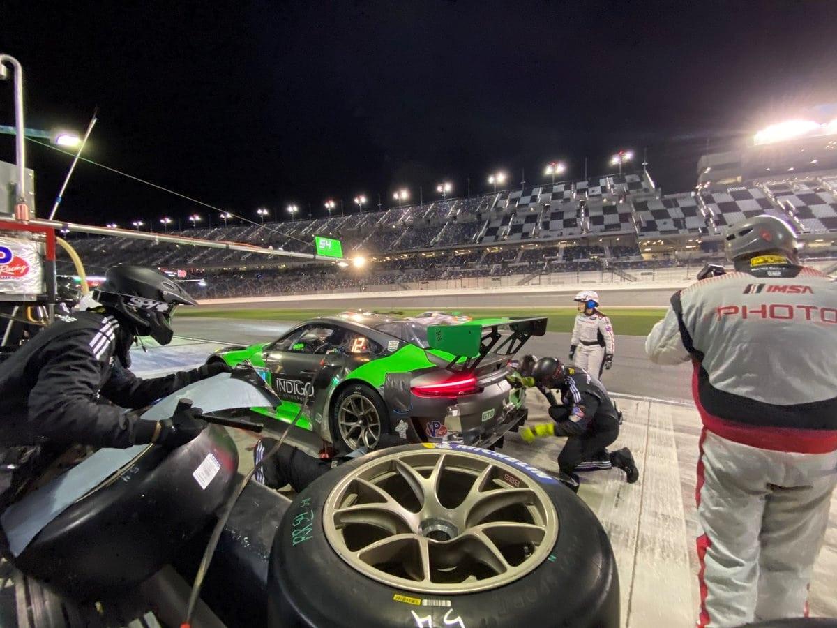 Jeroen Bleekemolen in Porsche tijdens Rolex24 op Daytona