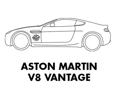 Race Planet Aston Martin V8 Vantage als kleurplaat om in te kleuren.