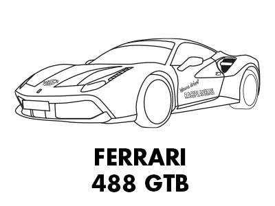 Kleurplaat van een Ferrari 488 GTB bij Race Planet op Circuit Zandvoort om in te kleuren