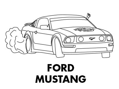 Kleurplaat van een driftende Race Planet Ford Mustang over Circuit Zandvoort met rokende banden.