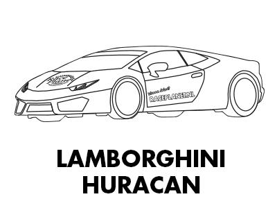 Lamborghini Huracan supercar kleurplaat van Race Planet die je kunt inkleuren.
