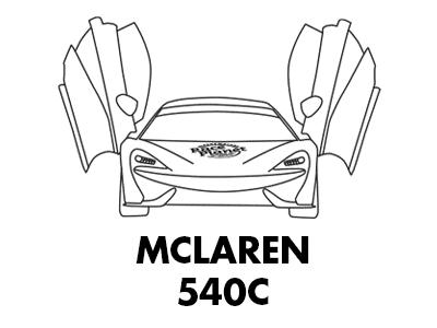 Een kleurplaat van de Britse McLaren 540c met open deuren die je zelf in kunt kleuren.
