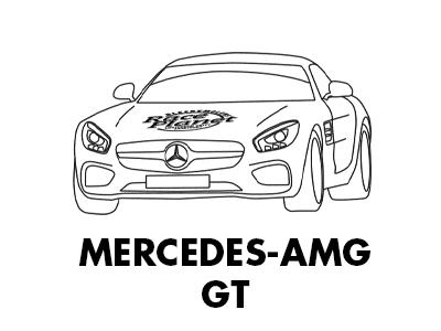Kleurplaat van een stoere Mercedes-AMG GT van Race Planet op Circuit Zandvoort om in te kleuren.