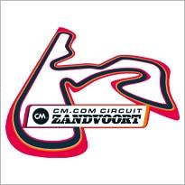 Logo van CM.com Circuit Zandvoort met de lay-out van het circuit.